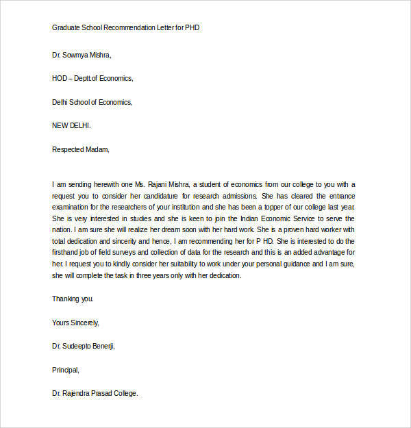 letters of recommendation for graduate school 44 sample letters of recommendation for graduate school 23374 | Graduate School Recommendation Letter for PHD