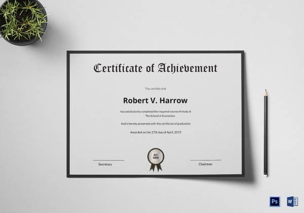 acheivement certificate template
