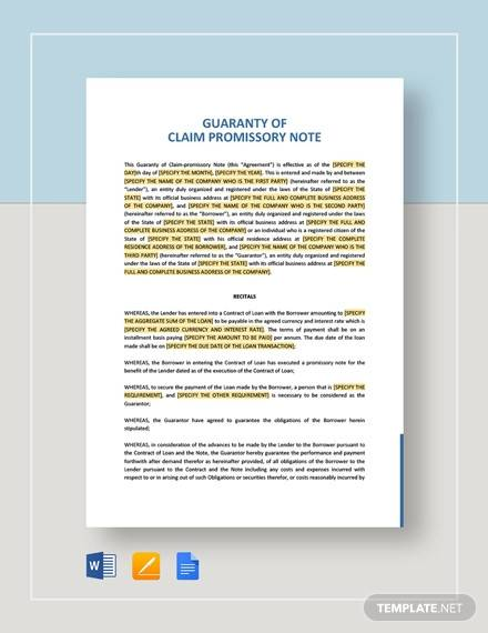 guarantee of claim promissory note template