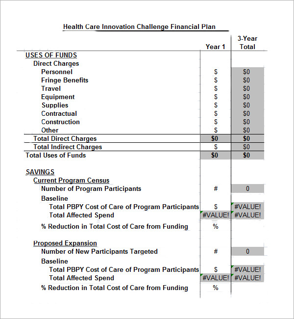 health care financial plan template