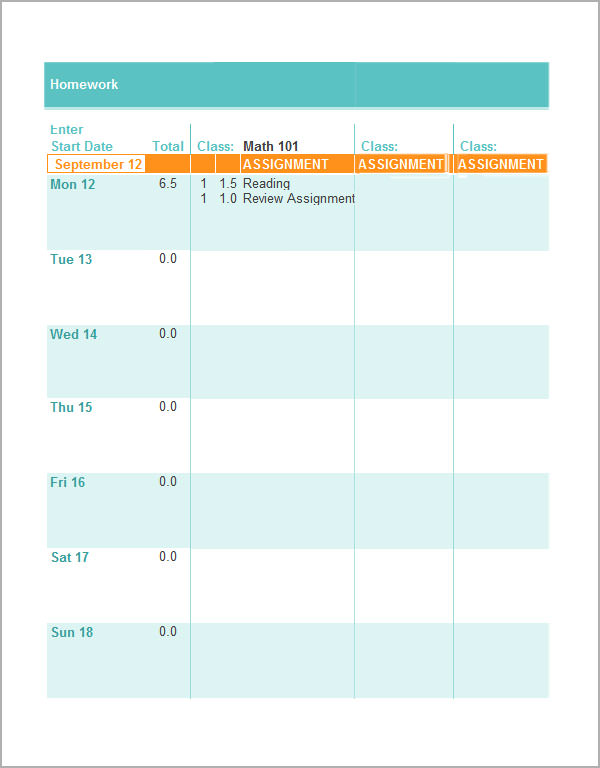 homework timetable maker departments along cf