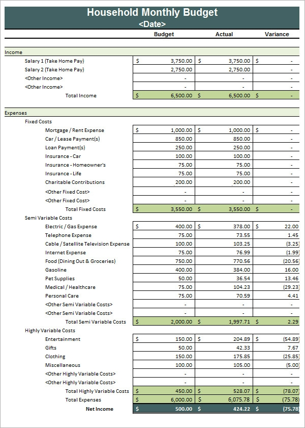 Sample Household Budget   Documents In Pdf Word Excel