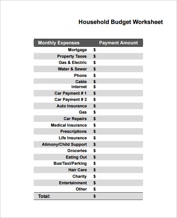 sample household budget 8 documents in pdf word excel