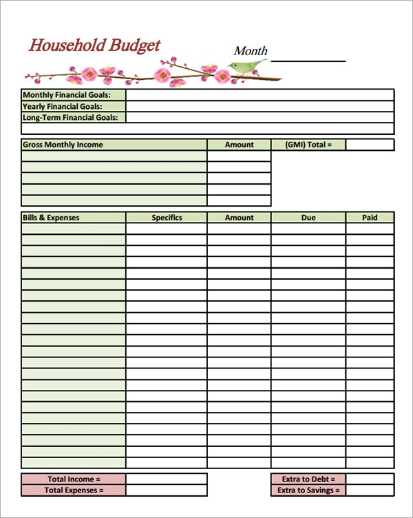 Sample Household Budget Templates to Download