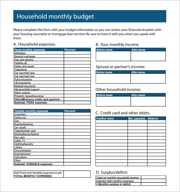Family Budget Spreadsheet Template. Monthly Household Budget