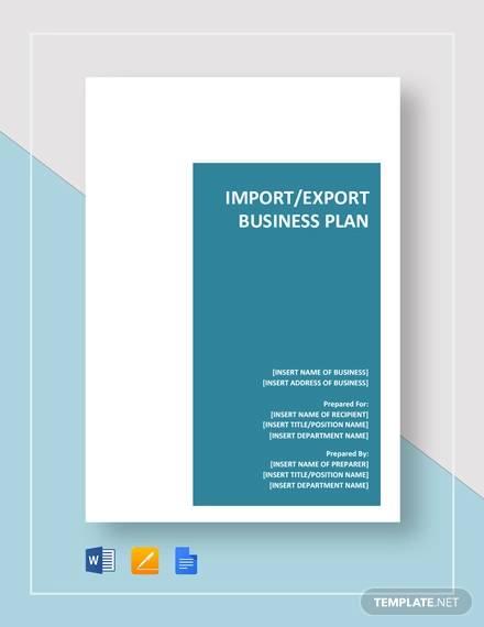 import export business plan