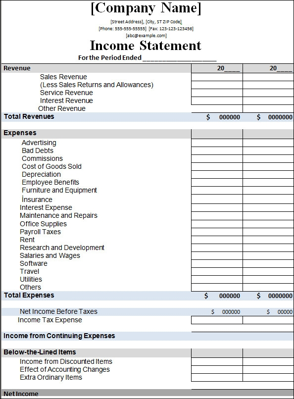 sample income statement template