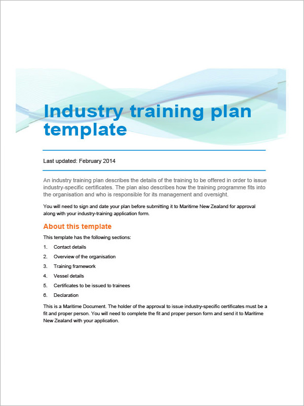 industry training plan template