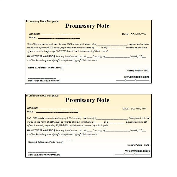 Investment Promissory Note Template. Download  Promissory Note Free Download