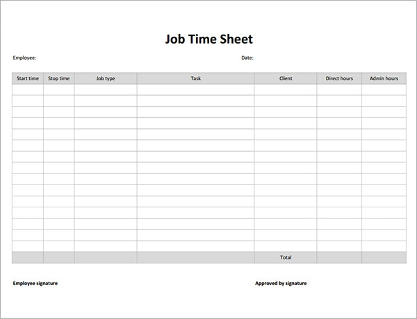 job timesheet template free