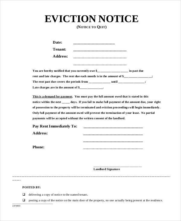 Legal-Eviction-Notice  Day To Vacate Property Letter Template on