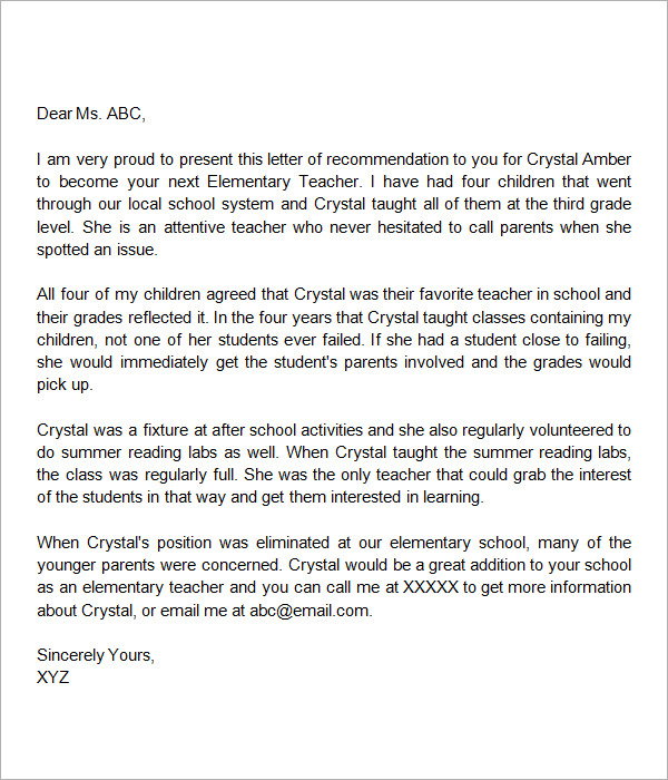 letter of recommendation for elementary teacher