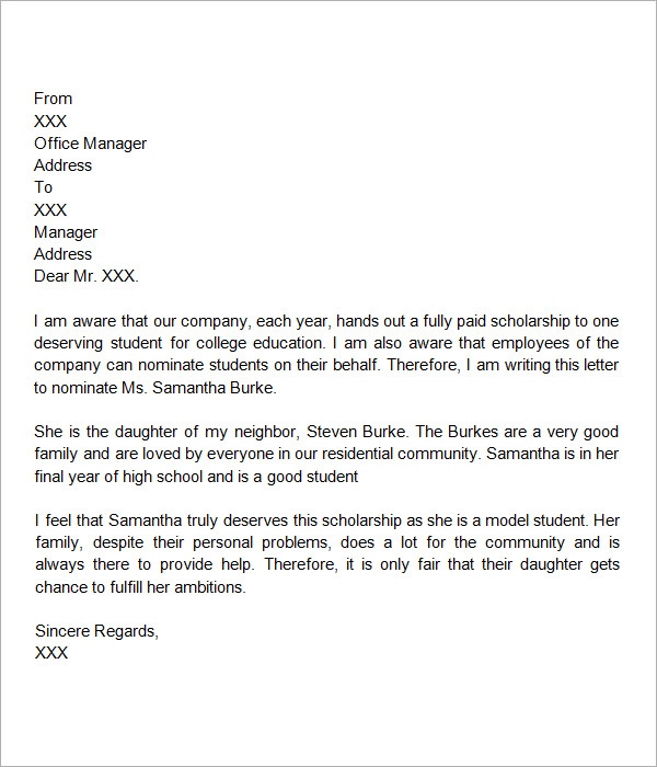 Sample Letter Of Recommendation For Scholarship