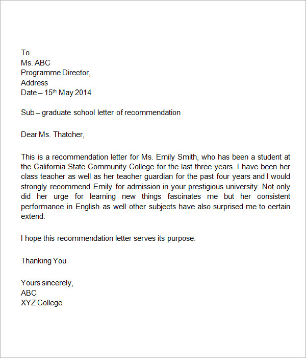 sample student recommendation letter template