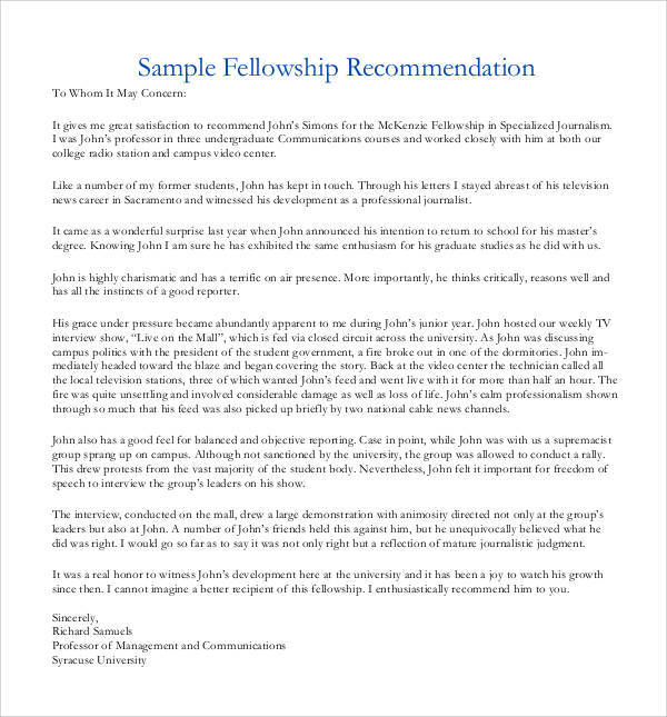 38 sample letters of recommendation for graduate school sample letter of recommendation for fellowship graduate school spiritdancerdesigns Image collections