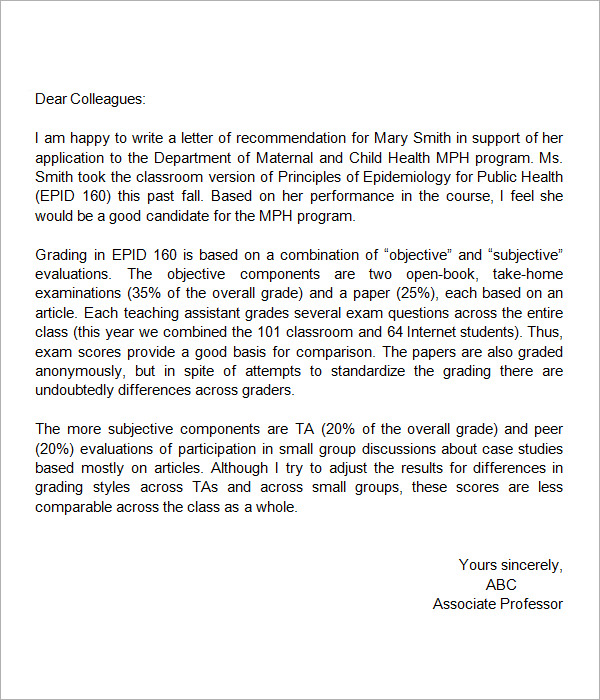 sample letter of recommendation for high school student