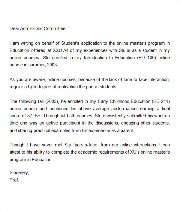 44 Sample Letters Of Recommendation For Graduate School DOC PDF