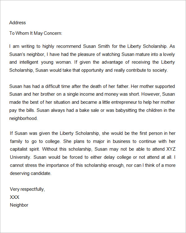Scholarship Recommendation Letters Example