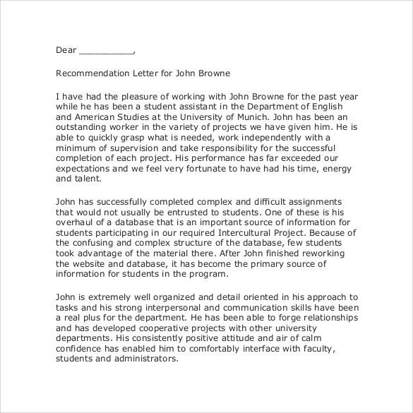 recommendation letter for student 35 letters of recommendation for student pdf doc 24219 | Letter of Recommendation for Student Worker