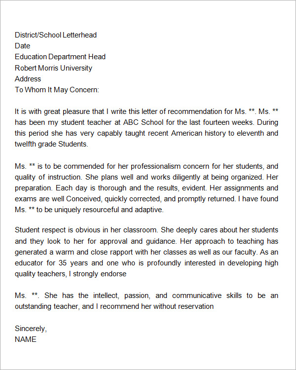 Sample Letters Of Recommendation For Teacher 12