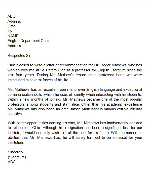Sample Letter Of Recommendation For Teacher   Documents In Word