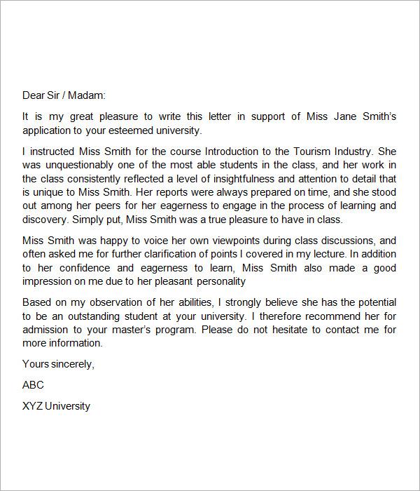 Letter of Recommendation for Teacher aAMIaELT