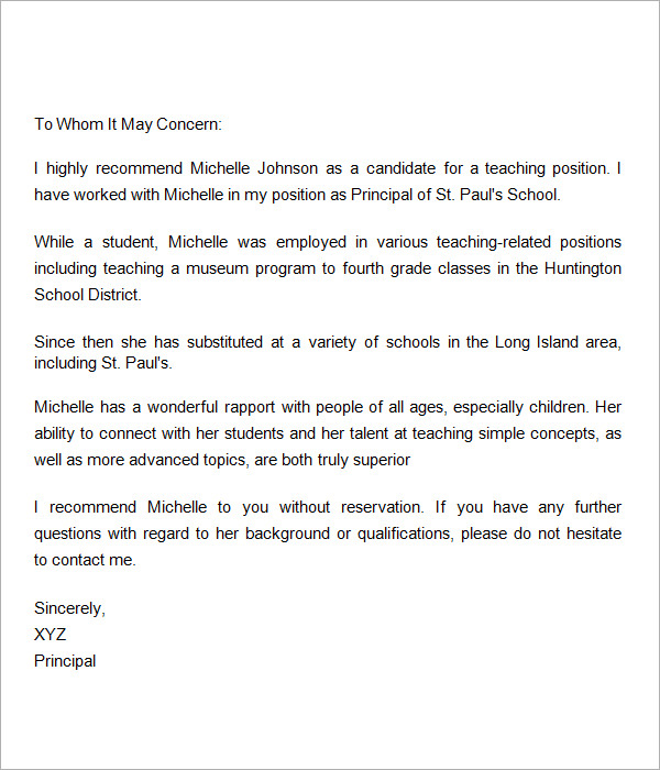 letter of recommendation for a teacher 18 letter of recommendation for samples pdf 43340
