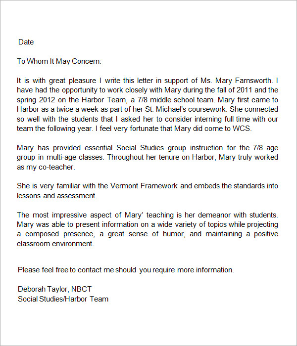 Letter Of Recommendation For Teaching Position Sample Sample Letters Of Recommendation For Teacher 12