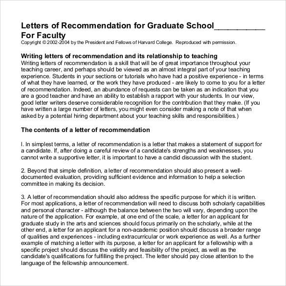 letters of recommendation for faculty