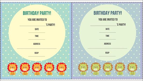 lion decorated birthday invitation