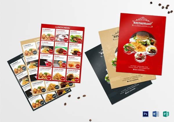 lunch menu templat