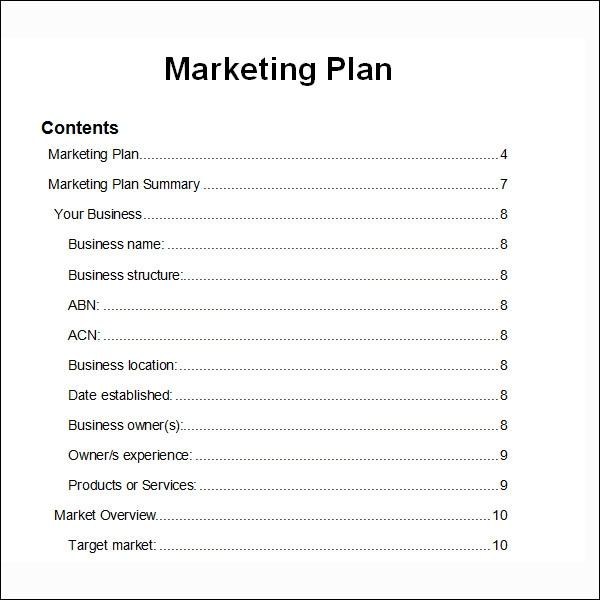Marketing Plan Templates | Sample Templates