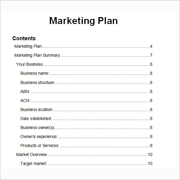 Format Of Marketing Plan