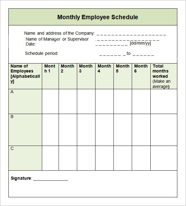 monthly work or employee schedule