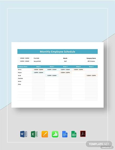 monthly employee schedule template2