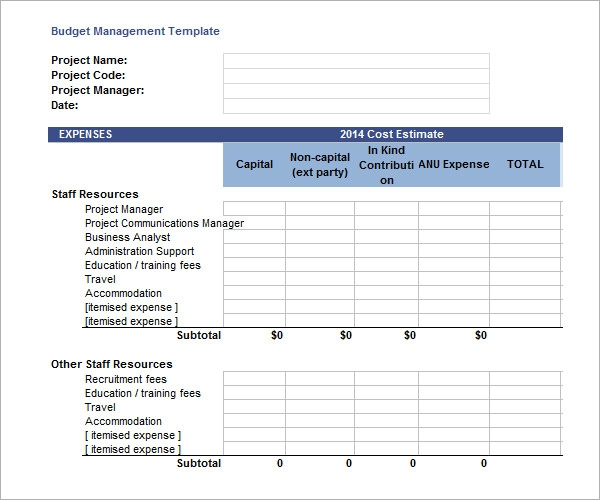 monthly project budget template