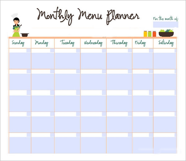 9 sample monthly schedule templates to download sample for Monthly dinner calendar template