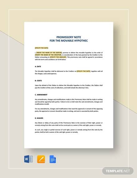 movable hypothec promissory note template