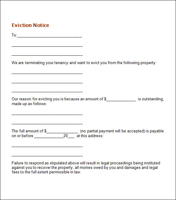 Sample Eviction Notice Template 17 Free Documents in PDF Word – Printable Eviction Notice