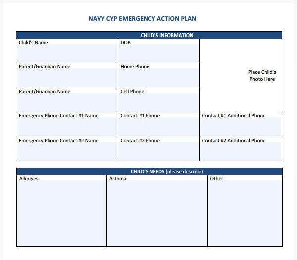 Blank emergency action plan template friedricerecipe Image collections