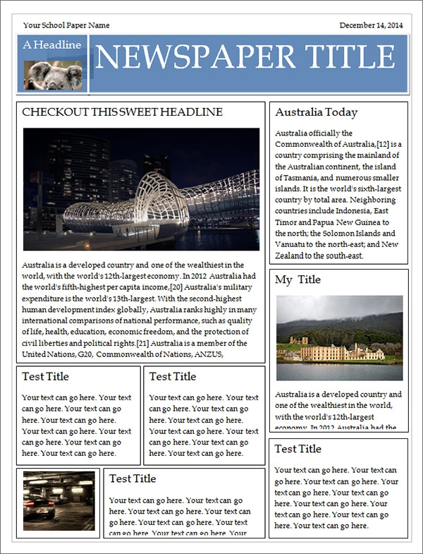 Newspaper Template   Download Free Documents In Pdf Ppt Word