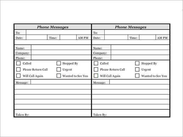Phone Message Templates   Free Download for Word Excel PDF 0zmK85o1