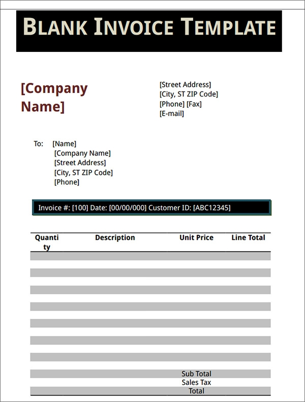 20+ Blank Invoice Templates - Free Download in Word, Excel, PDF ...