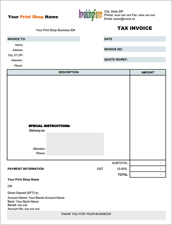 pdf tax nvoice template