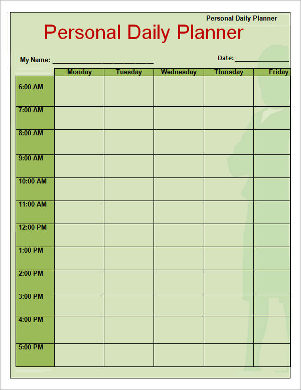 8 Free Printable Daily Planner Templates | Sample Templates