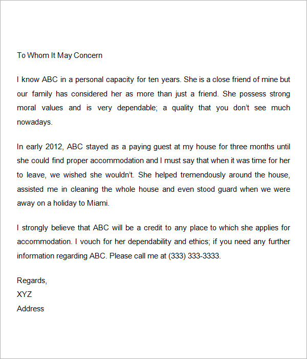 Personal Recommendation Letter For A Friend 9 + personal letters of ...