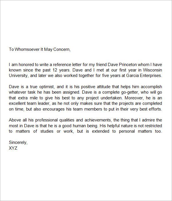 Letter Of Recommendation Template For Friend  ComingoutpolyCo