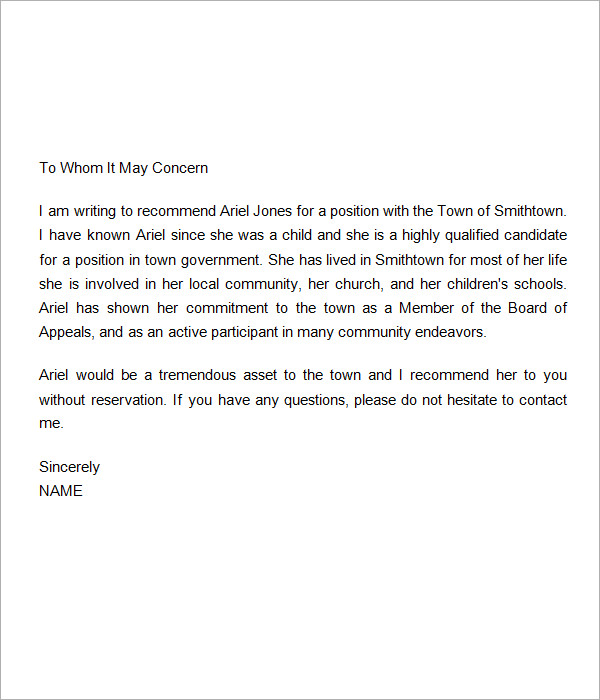 Personal Letters of Recommendation | Sample Templates