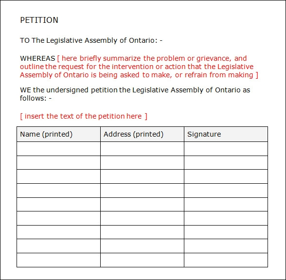 24 sample petition templates pdf doc sample templates for Templates for petitions