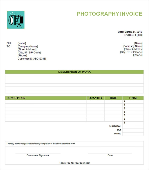 Photography Blank  Printable Blank Invoices